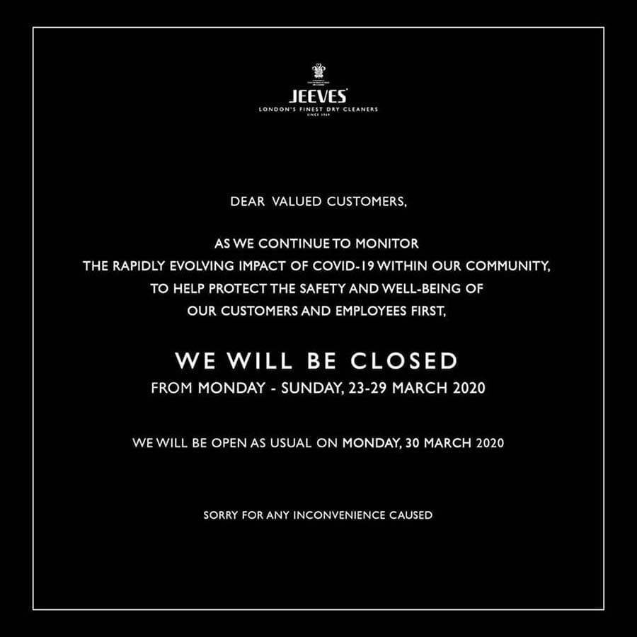 WE WILL BE CLOSED 23 UNTIL 29 MARCH 2020